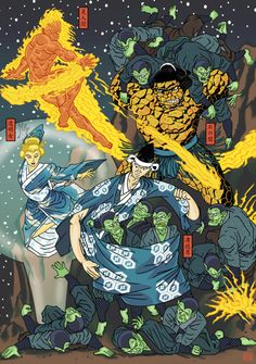 The Fantastic Four (Ukiyo-e Style) - Dakota Alexander Comic Book Characters, Marvel Characters, Comic Character, Comic Books Art, Comic Art, Marvel Comic Universe, Marvel Comics Art, Flash Comics, Fantastic Four