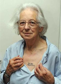"""81-year-old Joy Tomkins of Downham Market, Norfolk, UK, says,  """"I do not want to be half dead, I want to be fully dead. I'm afraid the medical profession will, with the best of intentions, keep me alive when I don't want to be alive.  I don't want to lie for hours, months or even years before dying. I do not want to end up as a vegetable. I don't want my family to remember me as a lump. That is why I got the tattoo. I don't have a death wish I just don't wa..."""