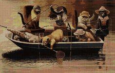 pesca EN PUNTO DE CRUZ
