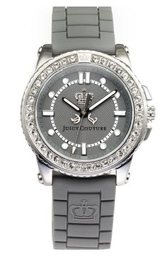 Juicy Couture 'Pedigree' Jelly Strap Watch available at Nordstrom Cute Watches, Amazing Watches, Trendy Watches, Cute Jewelry, Jewelry Accessories, Juicy Couture Watch, Grey Watch, Fashion Watches, Women's Fashion