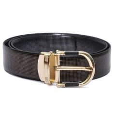 HIDEMARK REVERSIBLE LEATHER BELT WITH DRESSY GOLDEN BUCKLE