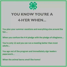 You know you are a 4-H'er when....