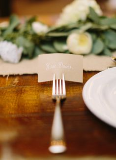 fork place card | Loft Photographie #wedding