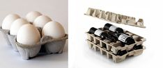 a way to reuse egg cartons for wine bottles   http://www.crossindustryinnovation.com/15-examples/ Website Title: Cross-industry innovation  Article Title: 15 Examples  Date Accessed: June 16, 2017