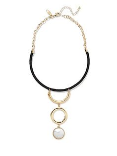 Shop Faux-Pearl & Circle Pendant Collar Necklace . Find your perfect size online at the best price at New York & Company.