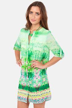 Fun Floral Print Dress - Long Sleeve Dress - Shift Dress - $49.00
