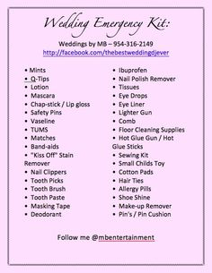 On the day of your wedding you do not know what emergency might arise!  Here is a list for any emergency!  @Twitter Inc..com