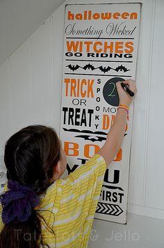 Halloween countdown board by tatertotsandjello.com This is way CUTE! #halloween #silhouette