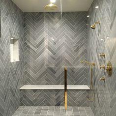 Stunning shower Herring bone Lorca Marble by Tabarka Studio