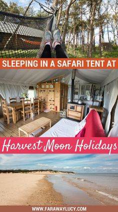 Sleeping in a Safari Tent at Harvest Moon Holidays near North Berwick East Lothian Scotland UK. This luxurious glamping site located on a gorgeous private beach is home to seven large safari tents and seven fabulous treehouses. If quirky and unusual Europe Travel Tips, Travel Advice, Travel Guides, Travel Destinations, Traveling Europe, Travelling, Scotland Travel, Ireland Travel, Scotland Uk
