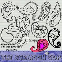 paisley doodles photoshop custom shapes