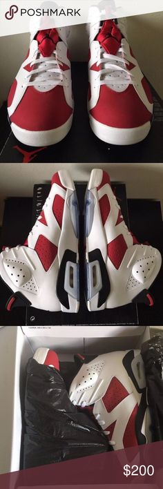 Air Jordan 6- Carmine Brand New DEADSTOCK- no TRADES. COMES WITH ORIGINAL EVERYTHING. CONTACT ME BEFORE PURCHASE. Please and thank you Jordan Shoes Athletic Shoes