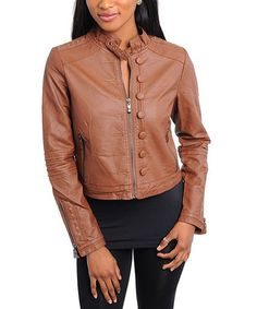 Take a look at this Brown Button Faux Leather Moto Jacket - Women by Buy in America on #zulily today!