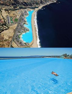 World's largest and deepest swimming pool at San Alfonso del Mar Resort in Chile. 19 acres long and 115 feet deep. Crazy!