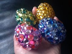 Eggs with Bling! What to do with those left over plastic Easter eggs.