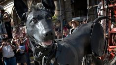 Giant dog joins the Sea Odyssey giant spectacular - performed this weekend by the Royal de Luxe street theatre group from Nantes, France