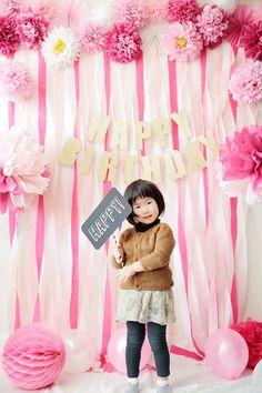ピンクの可愛いフォトブース♪バースデー、誕生日