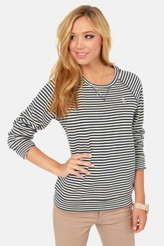 Obey Wharf Crew Navy Blue Striped Sweater at LuLus.com!