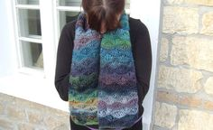 Multi knit scarf    Drop stitch scarf   Wavy pattern by WoolieBits