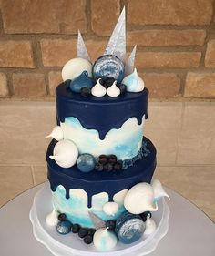 Beautiful Navy Light Blue And White Drip Cake For A Baby Shower @flourshoptx