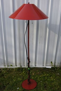 Vintage Two Light Pull Large Red Metal Lamp Shade w/heavy metal Base Stand