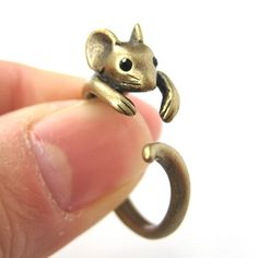 Realistic Mouse Animal Wrap Around Hug Ring in Brass - Sizes 4 to 9 $10 #mouse #animals #jewelry #rings #cute