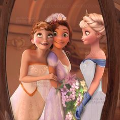 Elsa and Anna on Rapunzel's wedding,