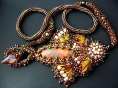 Bead embroidered Pendant necklace shibori silk ribbon Swarovski navette crystal…