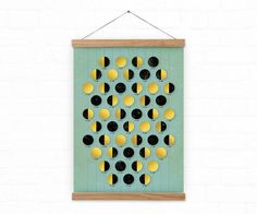 Golden moon / Just Moon Calendar 2017 - A3, A3+ size / home decor  Gold circle represents full moon - when the moon is entirely bright, Black circle represents new moon - dark usually not visible at all. Other two symbols are 1st quarter and 3rd quarter. ***We customize moons according to the state you are coming from. The one you can see in the shop has phases of the moon calculated using local time in New York. *Illustration  *This print is printed in size: A3 - 29.7 x 42.0 cm, 11,7 x 16,5…