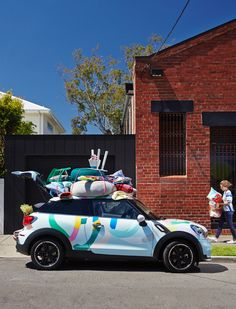 Our custom MINI, outside the Hawthorn OPEN HOUSE location! Furniture and Olba poufs byJardan, other product byCountry Road,Bonnie and Ne...