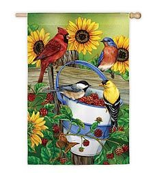 Weather And Fade Resistant Birds And Berries Silk Screened Garden Flag