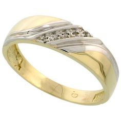 Sterling Silver (Gold Plated) Men's Diamond Band, w/ 0.03 Carat Brilliant Cut Diamonds, 1/4 in. (6mm) wide, Size 11 Gabriella Gold. $65.26. Save 64% Off!