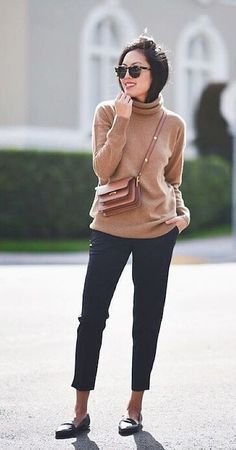 A Turtleneck Sweater, Tailored Pants, and Loafters.