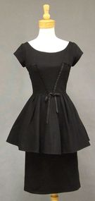 Bombshell Black Pique Vintage Peplum Cocktail Dress w/ Satin Bands