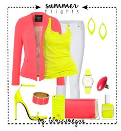 """#298 - Summer Brights: Neon Coral & Yellow"" by lilmissmegan ❤ liked on Polyvore featuring True Religion, Yves Saint Laurent, American Apparel, Jane Norman, Jimmy Choo, Alexis Bittar, Nali, H&M, Tory Burch and adidas"