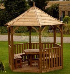Buckingham Gazebo table and 5 chairs Gazebo Plans, Backyard Gazebo, Ponds Backyard, Patio, Diy Gazebo, White Gazebo, Hot Tub Gazebo, Garden Bar Shed, Wooden Gazebo