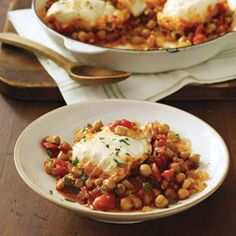 White Fish with Chickpea Ragu Fish Recipes - Womans Day Best Soup Recipes, Easy Homemade Recipes, Easy Dinner Recipes, Seafood Recipes, Vegetarian Recipes, Favorite Recipes, Healthy Recipes, Dinner Ideas, Vegetarian Dinners