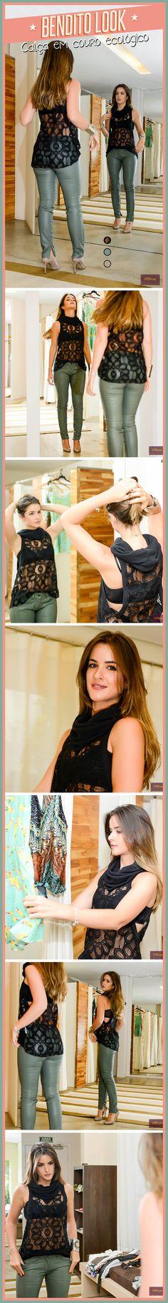 Calça couro ecológico - Bendito Look #benditainspiracao #benditolook #look #moda #calça #couro #ecológico