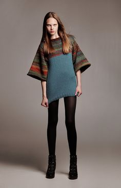 Ombré voluminous sleeves unique ooak F/W 2013-2014 Alisa Design modern high fashion hand knit ethno women sweater multicolor striped ombre