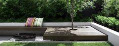 Built-in bench around tree