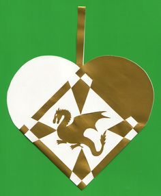 Christmas heart with Welsh Dragon free template