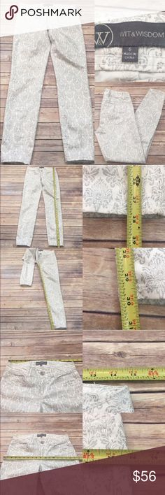 💟Size 6 Wit & Wisdom Damask Printed Skinny Jeans Measurements are in photos. Normal wash wear, has a light mark on the bottom of one pant leg, no other flaws. E3/28  I do not comment to my buyers after purchases, due to their privacy. If you would like any reassurance after your purchase that I did receive your order, please feel free to comment on the listing and I will promptly respond.  I ship everyday and I always package safely. Thank you for shopping my closet! Wit & Wisdom Pants…