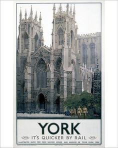 Poster produced for the London and North Eastern Railway (LNER) to promote rail travel to the city of York cm) Fine Art Print Framed, Poster, Canvas Prints, Puzzles, Photo Gifts and Wall Art Ceiling Painting, British Travel, National Railway Museum, York Minster, Railway Posters, London Transport, Europe, Vintage Travel Posters, Poster Vintage