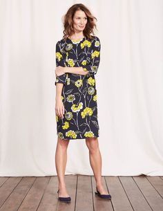 We pride ourselves on creating bright, bold prints that you won't find anywhere else – and this one is a real stunner. With 3/4 sleeves and a shift shape for a retro feel, it's easy to wear but makes a big statement.