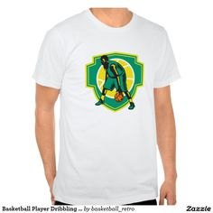 Basketball Player Dribbling Ball Woodcut Shield Re T-shirts. Illustration of a basketball player dribbling ball facing front set inside shield with ball on isolated white background. #basketball #retro #illustration