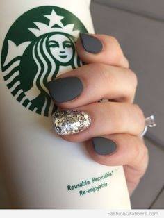 Dark gray matte on squoval nails. Dark gray matte on squoval nails. The post Dark gray matte on squoval nails. & appeared first on Fall nails . Love Nails, Fun Nails, How To Do Nails, Matt Nails, S And S Nails, Gorgeous Nails, Grey Matte Nails, Dark Grey Nails, Grey Acrylic Nails