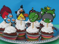 Angry Birds Birthday Party Cupcake Cake Toppers - (12)