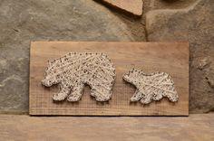 Custom Wood Wildlife Mama & Cub Bear String Art by hwstringart