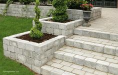 Holmegaard 4 - Lilly is Love Front House Landscaping, Hillside Landscaping, Backyard Retaining Walls, Retaining Wall Steps, Concrete Patio, Scandinavian Garden, Tiered Garden, Garden Stairs, Garden Paving