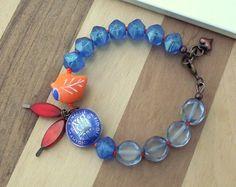 Orange love bird bracelet sixpence bracelet by ButtonedUpBeads